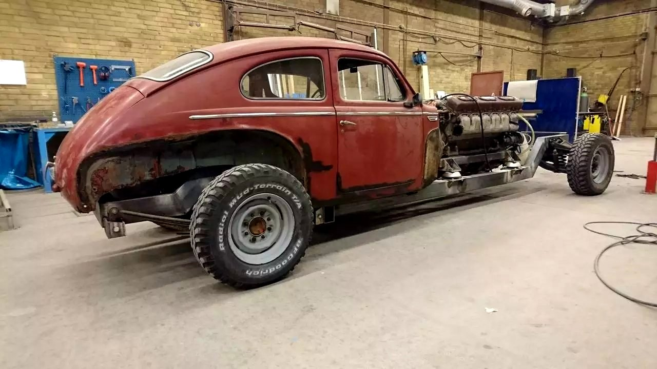 Old Volvo with Tank's Engine